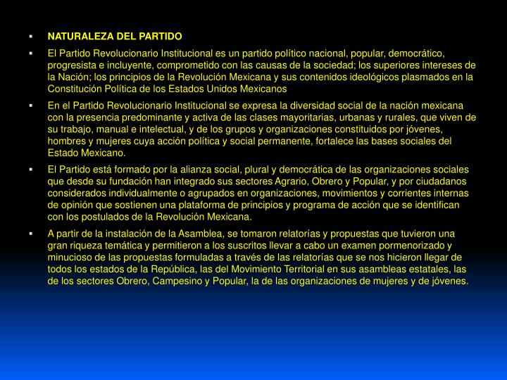 NATURALEZA DEL PARTIDO