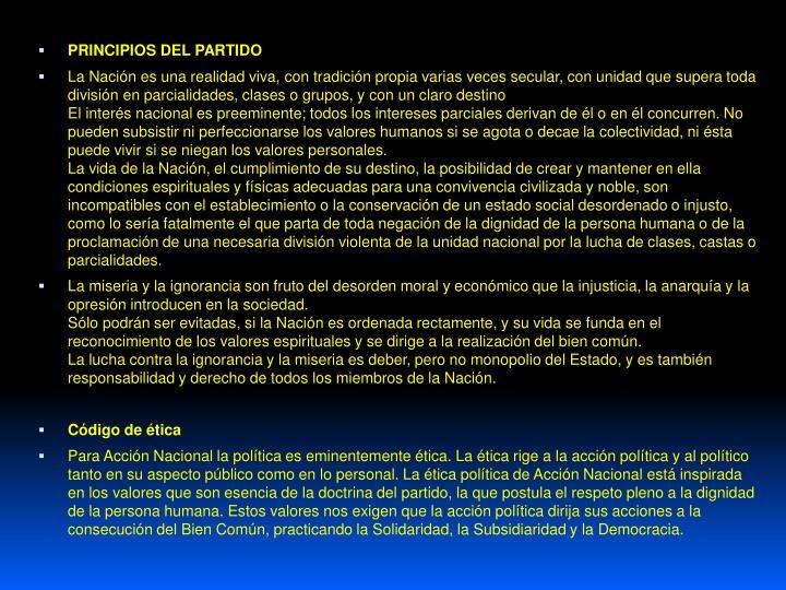 PRINCIPIOS DEL PARTIDO