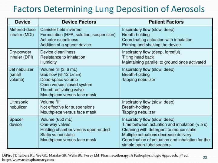 Factors Determining Lung Deposition of Aerosols