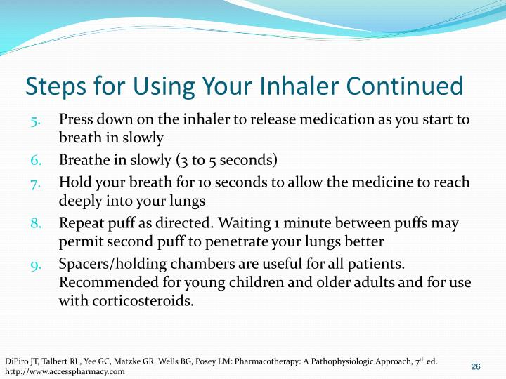 Steps for Using Your Inhaler Continued