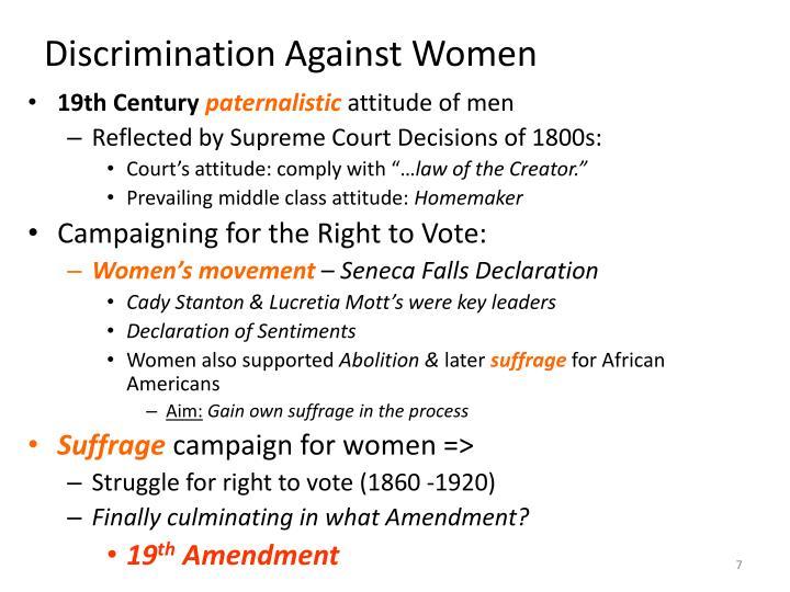 the discrimination against women