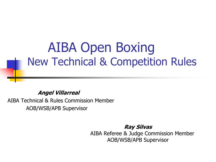 Aiba open boxing new technical competition rules