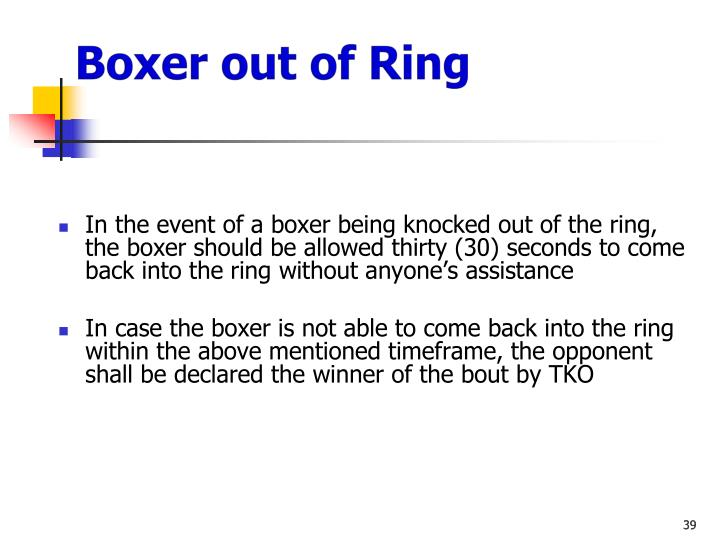 Boxer out of Ring
