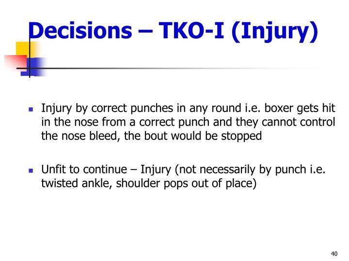Decisions – TKO-I (Injury)