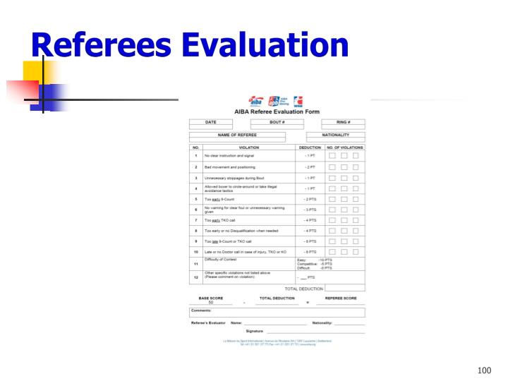 Referees Evaluation