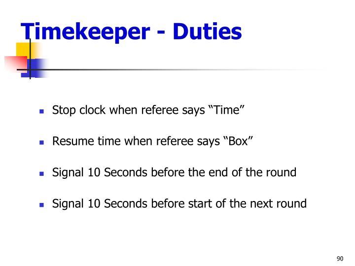 Timekeeper - Duties