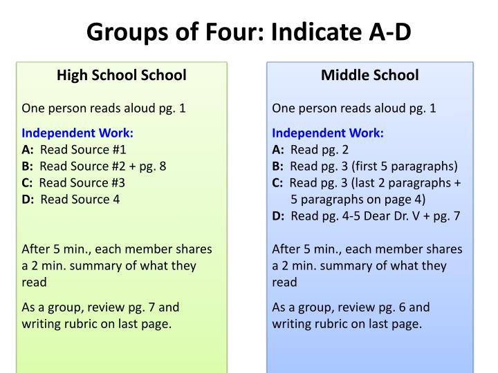 Groups of Four: Indicate A-D