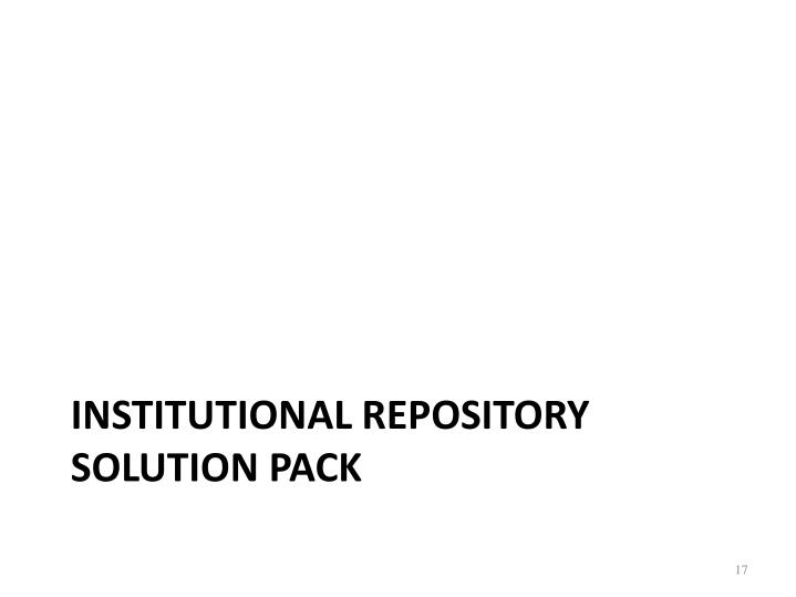 Institutional Repository solution pack