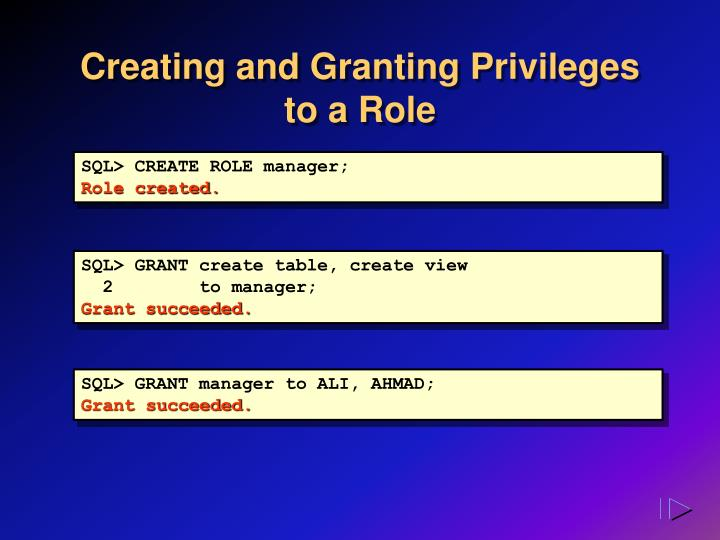Creating and Granting Privileges to a Role