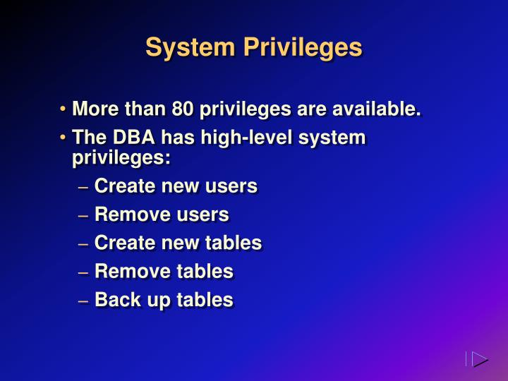 System Privileges