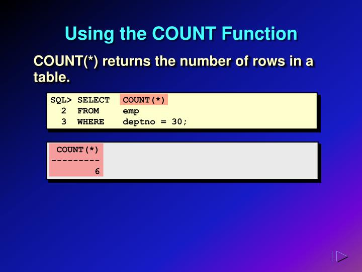Using the COUNT Function