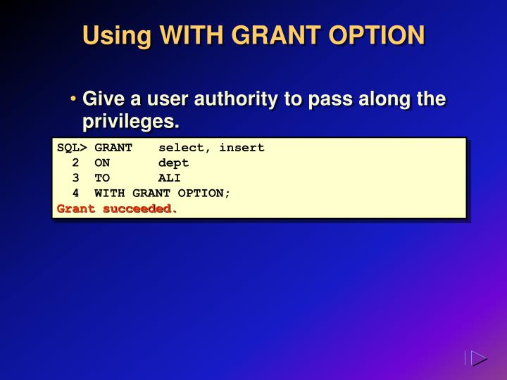 Using WITH GRANT OPTION