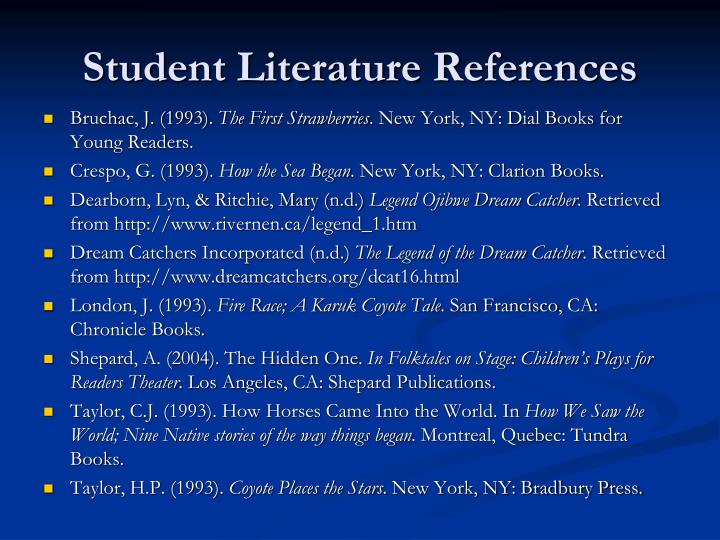 Student Literature References