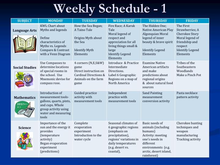Weekly Schedule - 1