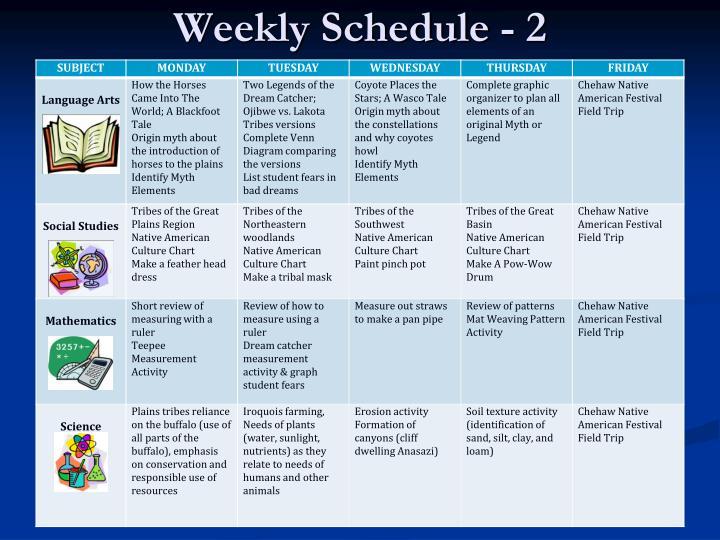 Weekly Schedule - 2