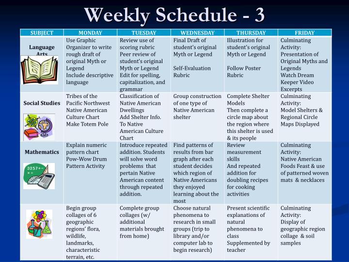 Weekly Schedule - 3