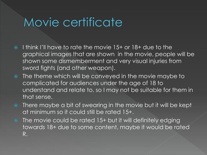 Movie certificate