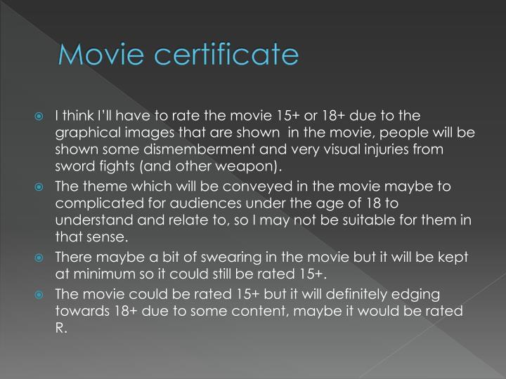 Movie certificate