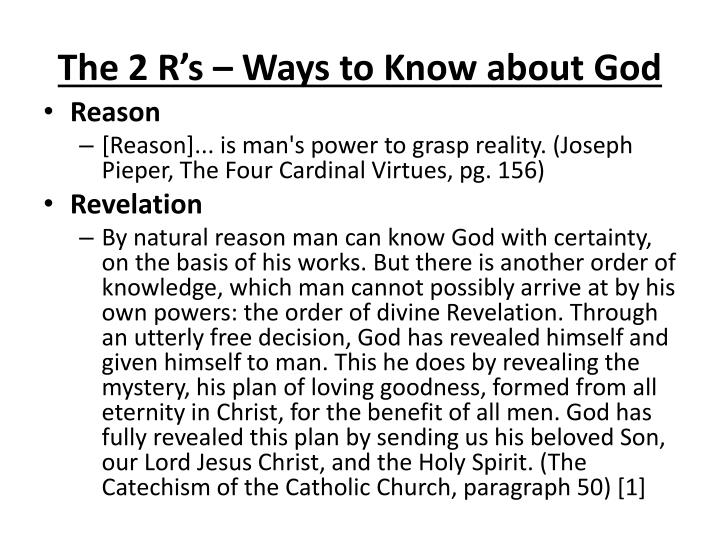 The 2 R's – Ways to Know about God