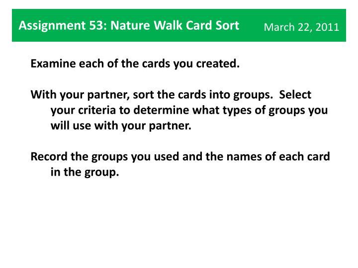 Assignment 53: Nature