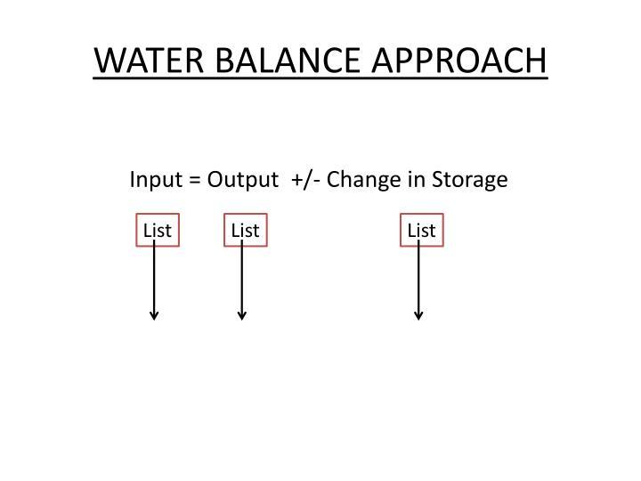 WATER BALANCE APPROACH