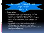 develops teamwork and cooperation cont1