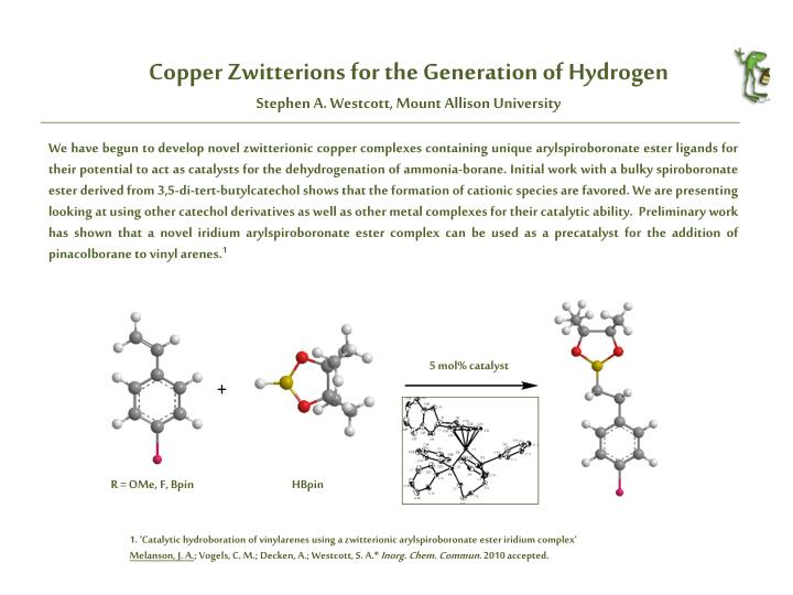 Copper zwitterions for the generation of hydrogen stephen a westcott mount allison university