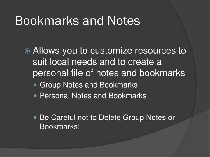 Bookmarks and Notes
