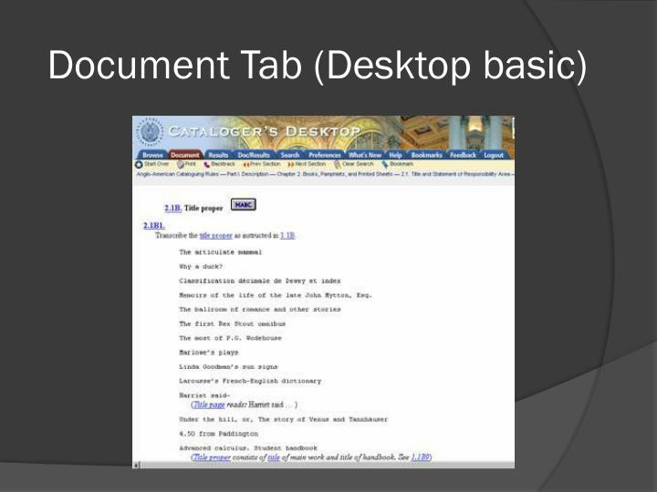 Document Tab (Desktop basic)
