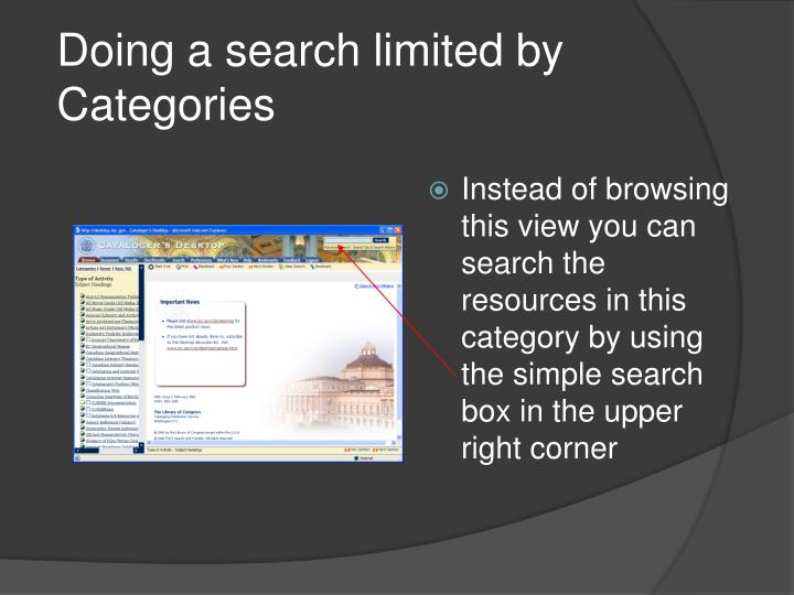 Doing a search limited by Categories