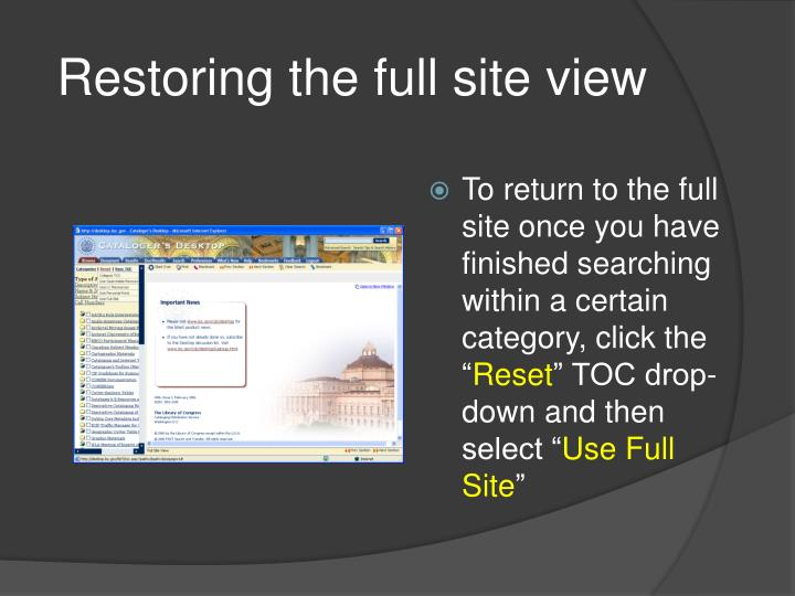 Restoring the full site view