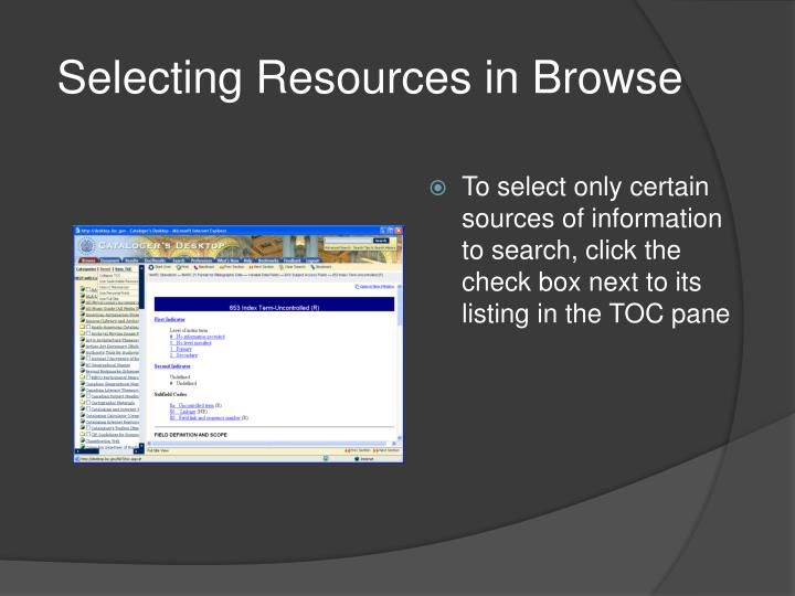 Selecting Resources in
