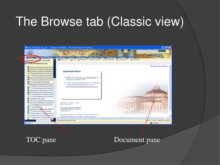 The Browse tab (Classic view)