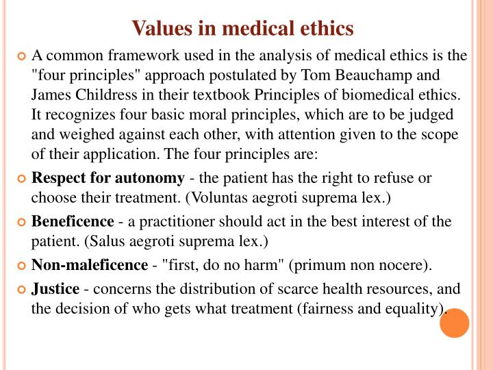 Values in medical ethics