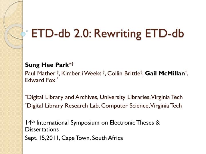 Etd db 2 0 rewriting etd db