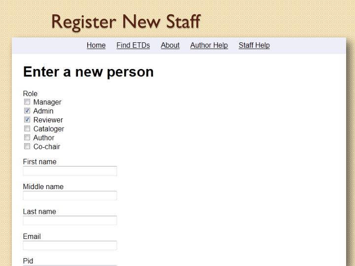 Register New Staff