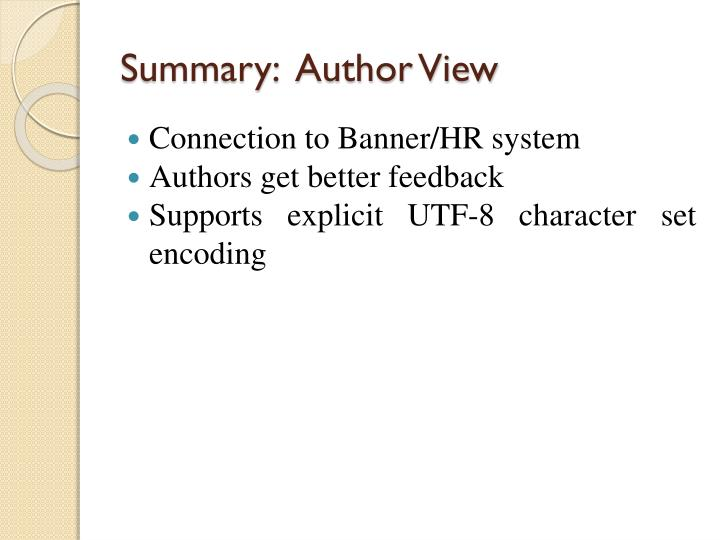 Summary:  Author View