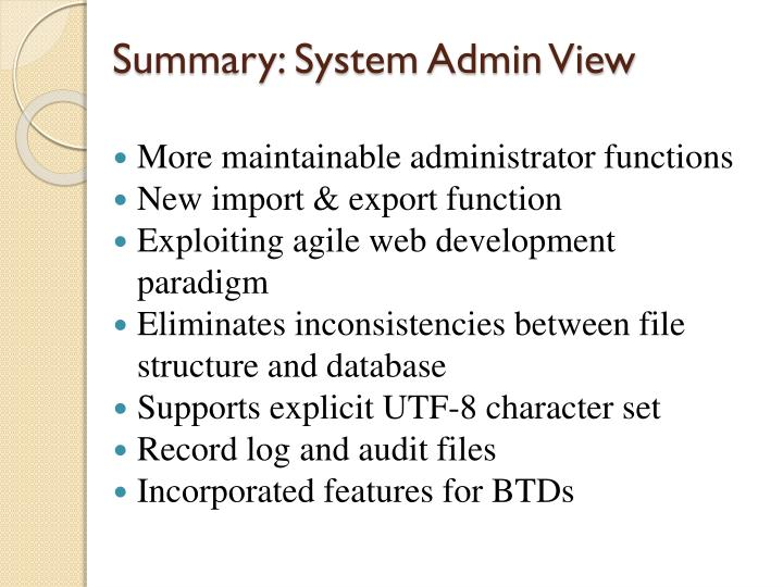 Summary: System Admin View