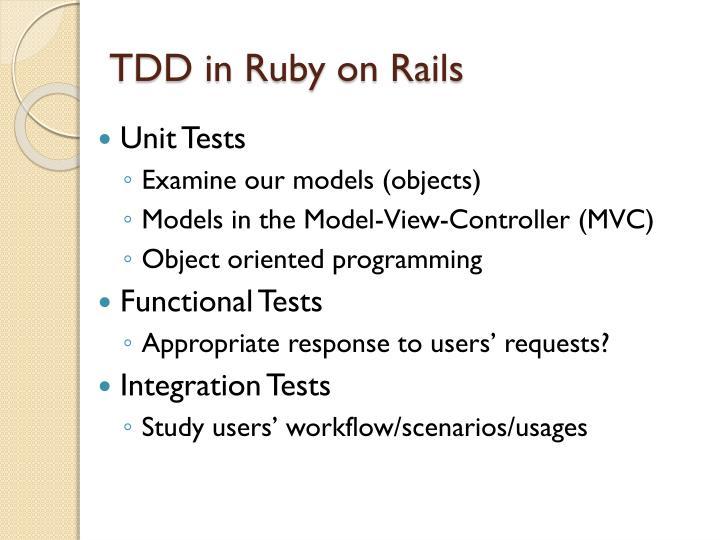TDD in Ruby on Rails