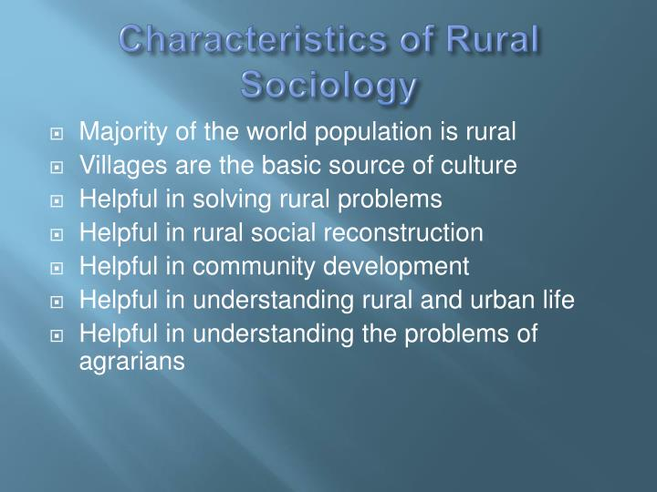 rural sociology and urban sociology Books in sociology: urban and rural sociology published or distributed by the university of chicago press.