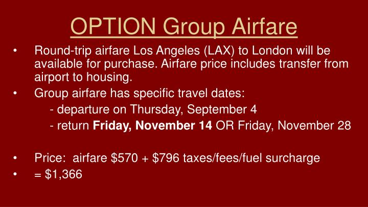 OPTION Group Airfare