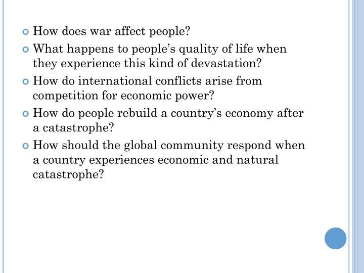 How does war affect people?