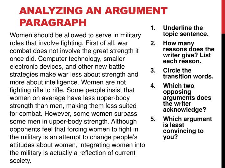 Analyzing an argument paragraph