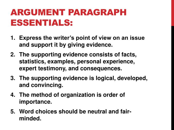 Argument paragraph essentials: