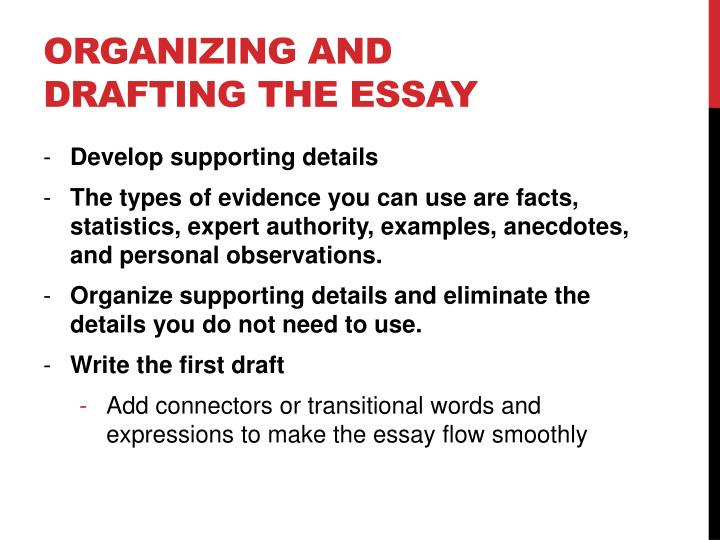 Organizing and drafting the essay