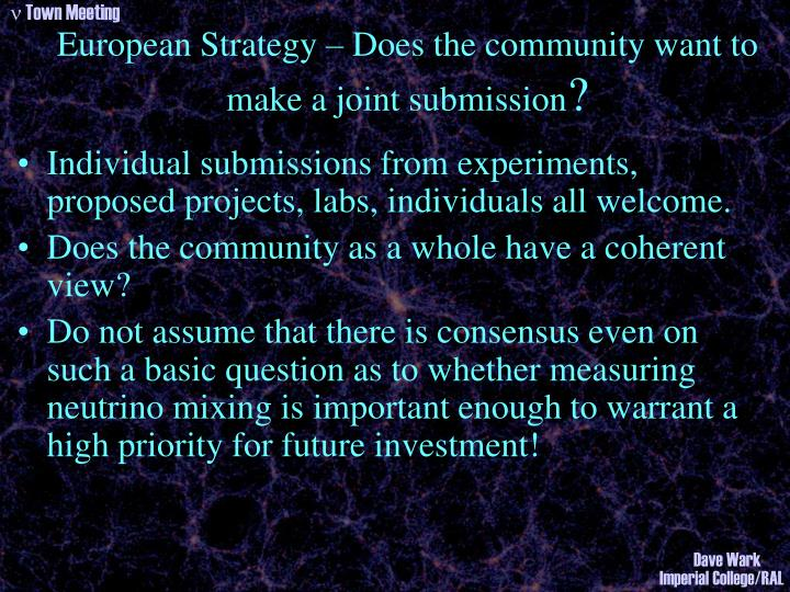 European Strategy – Does the community want to make a joint submission