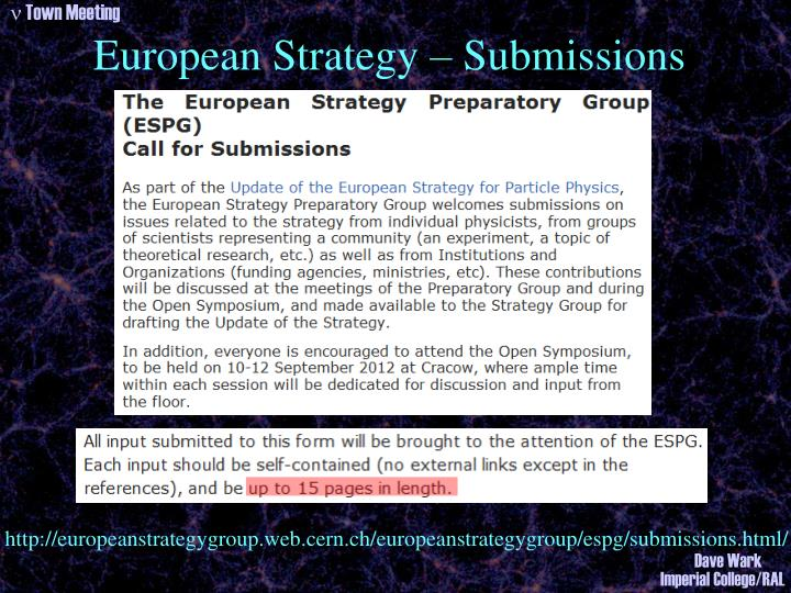 European Strategy – Submissions