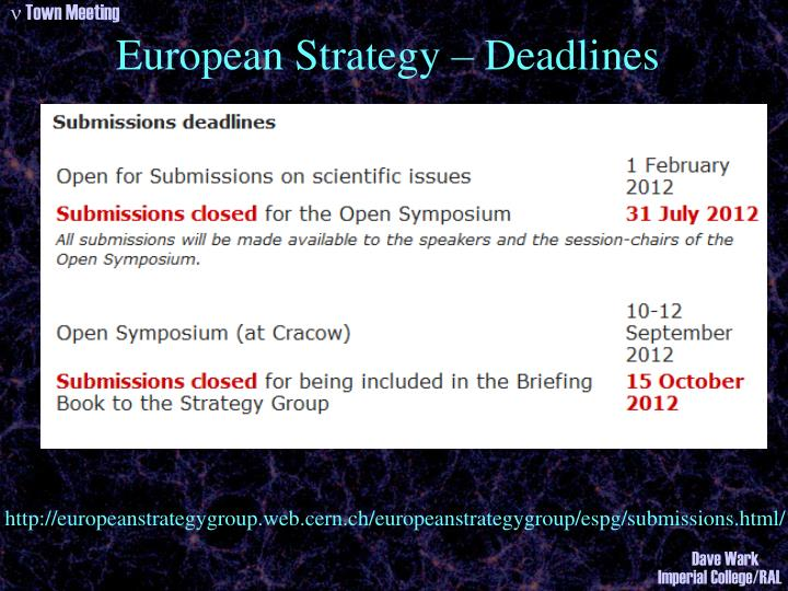 European Strategy – Deadlines
