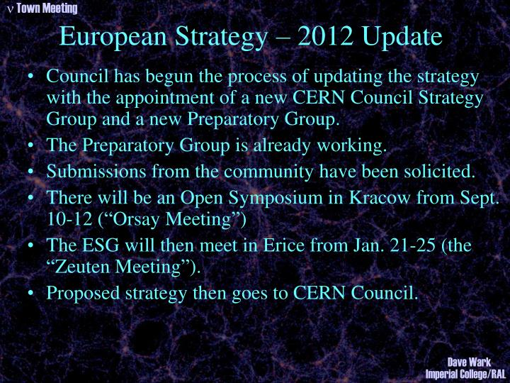 European Strategy – 2012 Update