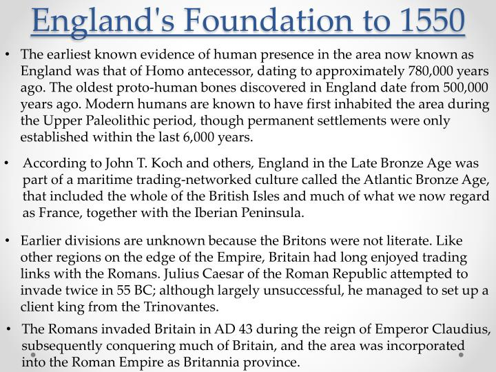 England's Foundation to 1550